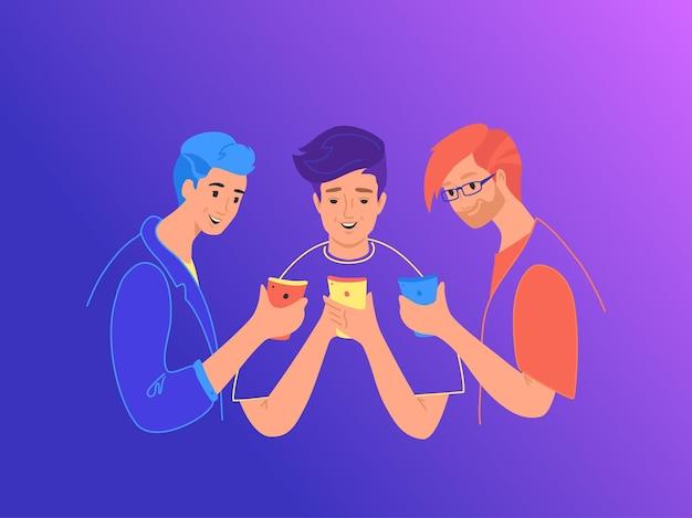 스마트폰 개념 평면 벡터 일러스트 레이 션을 사용 하는 십 대 친구. 댓글을 읽고 밈을 공유하기 위해 서로 스마트폰을 보여주는 어린 나무 소년. 모바일 스마트 폰을 들고 웃는 젊은 사람들