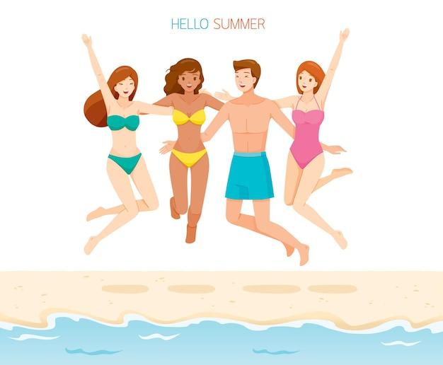 水着を着て、首を抱き締めて、ビーチで楽しくジャンプする10代の友達