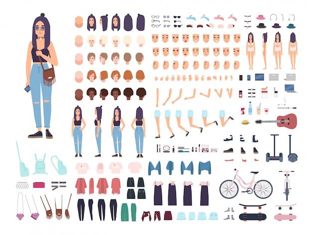 10代の少女のコンストラクタまたはアニメーションキット。 10代の女性または10代の体の部分、顔の表情、分離したヘアスタイルのセット。フラットな漫画のスタイルの色のベクトル図