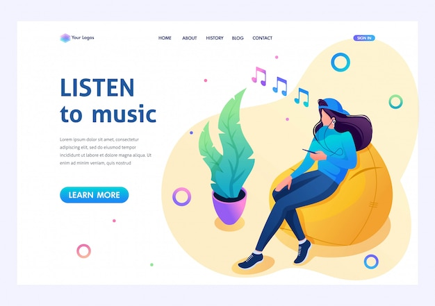 Teenage girl listens to music on her smartphone and uses a social network. 3d isometric. landing page concepts and web design