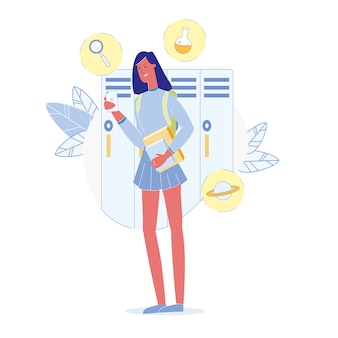 Teenage girl in school flat vector illustration