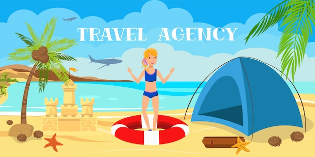Teenage girl with tent and sand castle cartoon.