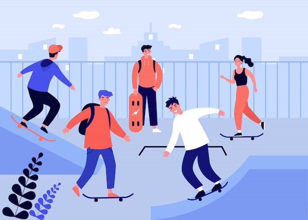 Teenage girls and guys enjoying skateboard activities