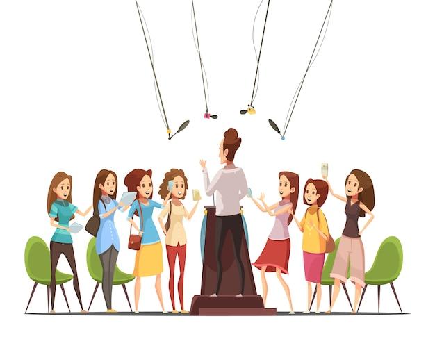 Adolescenti con le compresse degli smartphones che assistono all'evento di interesse e che registrano l'illustrazione di vettore del fumetto del retro dell'altoparlante Vettore gratuito