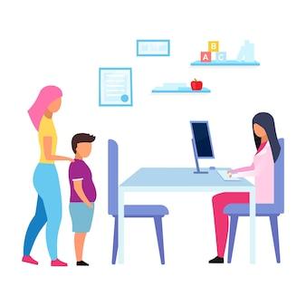 십대 비만 문제 평면 그림입니다. 어머니와 아들 의사, 영양사 흰색 배경에 고립 된 만화 캐릭터를 방문. 병원에서 영양사 상담과 체중 아이