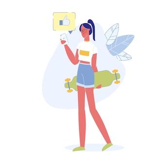 Teenage social media user flat vector character