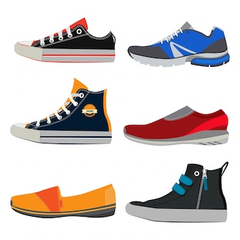 Teenage sports shoes. colorful sneakers at different styles.
