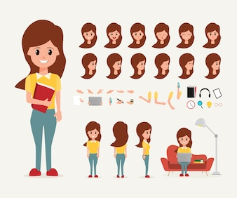 Teenage woman cartoon creating character in job