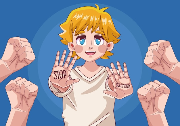 Teenager blond boy comic anime character with hands stoping  illustration