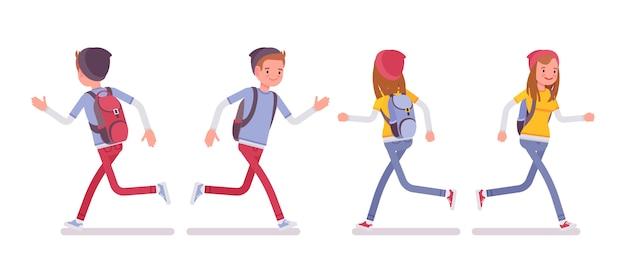 Подросток мальчик и девочка в позе бега