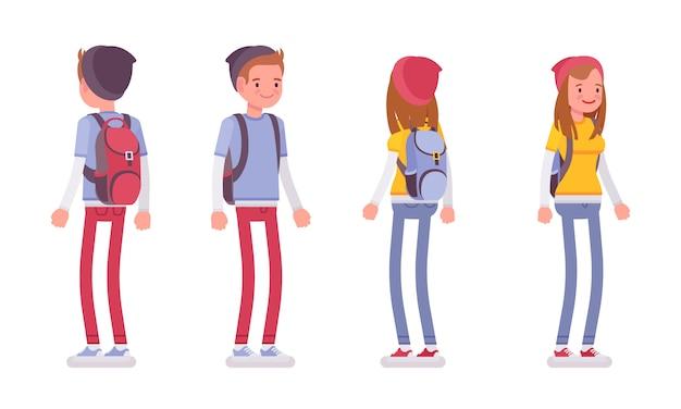 Подросток мальчик и девочка в позе стоя