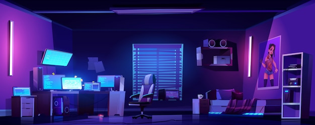 Teenager boy bedroom interior, computers on desk