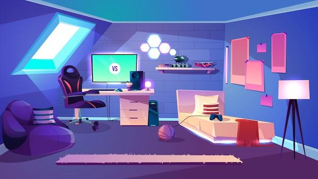 Подросток мальчик уютная комната на чердаке мультяшный вектор с мансардным окном