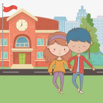Teenager boy and girl cartoon