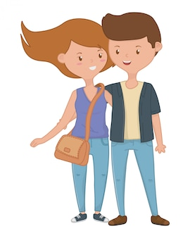 Teenager boy and girl cartoon