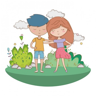 Teenager boy and girl of cartoon