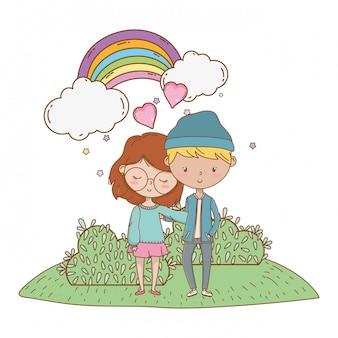 Teenager boy and girl of cartoon