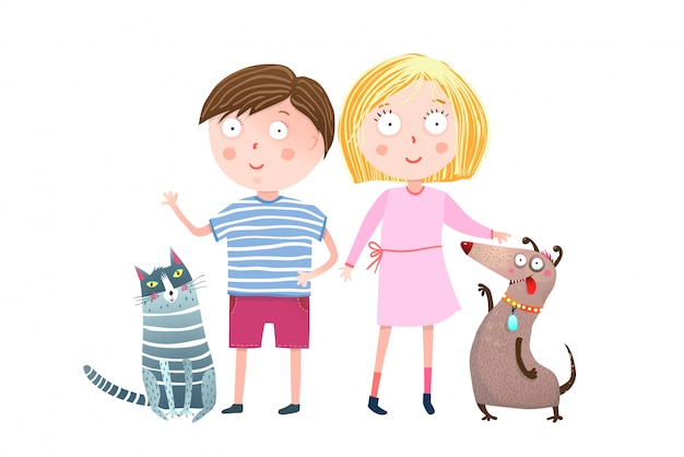 Teenager boy and girl with dog and cat