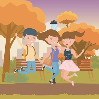 Teenager boy and girls cartoon