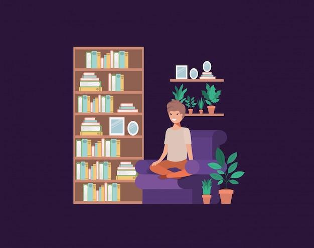 Teenager boy seated in livingroom