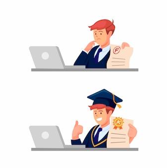 흰색 배경에 고립 된 만화 그림에서 종이 테스트 결과 개념 온라인 과정에서 학습하는 십 대 소년 학생