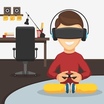 Teenager boy with game controller gamepad in virtual reality glasses and headphones on the background of the workplace.