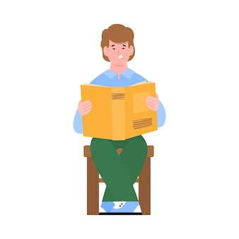 Teenager boy or young guy sitting and reading a book, flat cartoon vector illustration isolated on white background. schooling and education, reading books concept.