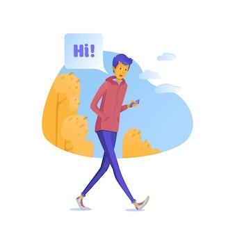 십 대 온라인 그림 채팅, 소셜 네트워크 앱을 사용하는 소년. 만화 캐릭터 걷기와 스마트 폰 이야기.
