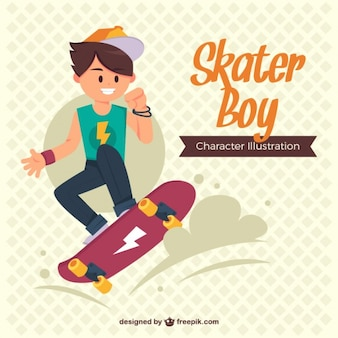 Teenager enjoying with his skateboard
