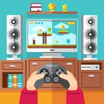 Teenager gaming video game