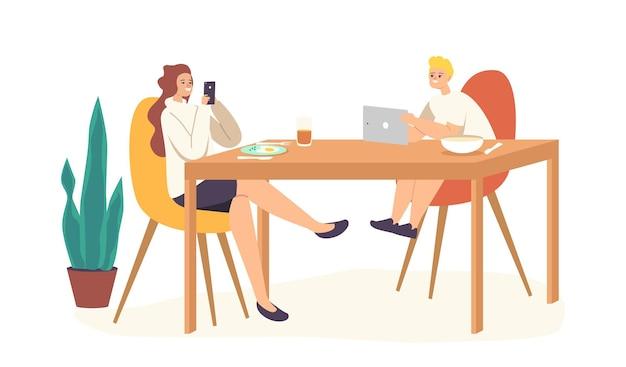 10대 소녀와 남학생 캐릭터는 전자 장치를 사용하여 온라인 채팅 테이블에 앉아 있습니다. 자매와 형제는 소셜 미디어 인터넷 서핑을 위해 서로를 무시합니다. 만화 사람들 벡터 일러스트 레이 션