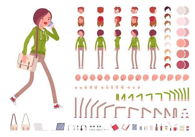 ティーンエイジャーの女の子のキャラクター作成セット