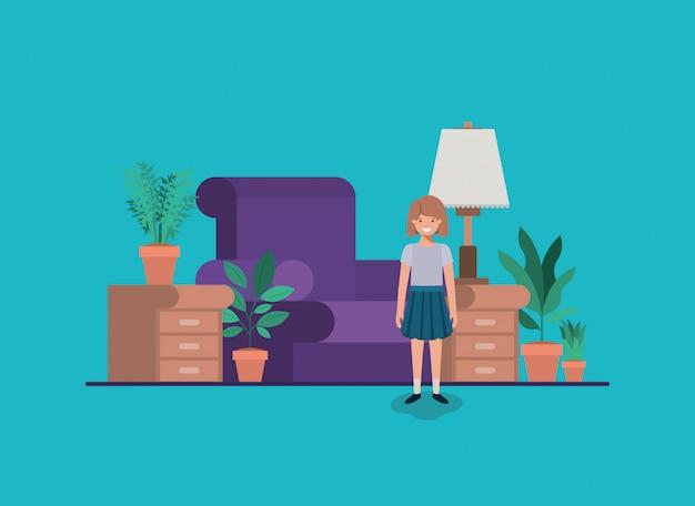 Teenager girl in livingroom
