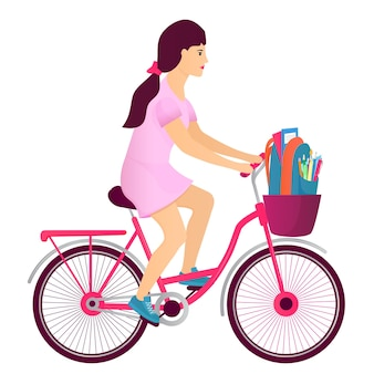 A teenager girl rides a bicycle and carries a backpack with student supplies. back to school concept.