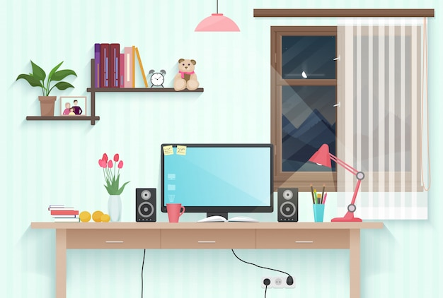 Teenager girl room workplace