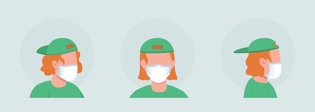 Девушка-подросток полу плоский цветной векторный персонаж аватар с набором масок. портрет с респиратором спереди и сбоку. изолированная иллюстрация современного мультяшного стиля для графического дизайна и анимации