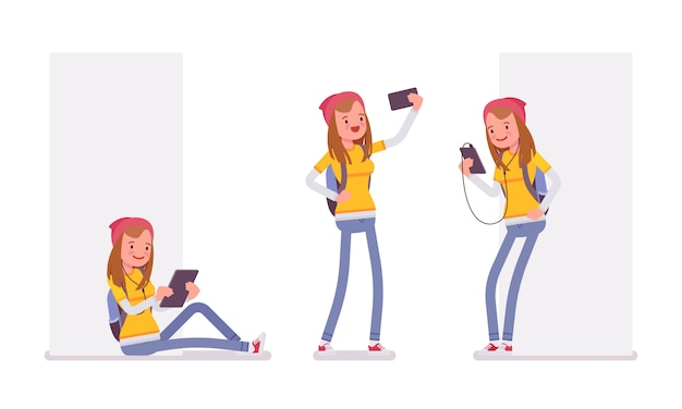 Teenager girl using different gadgets