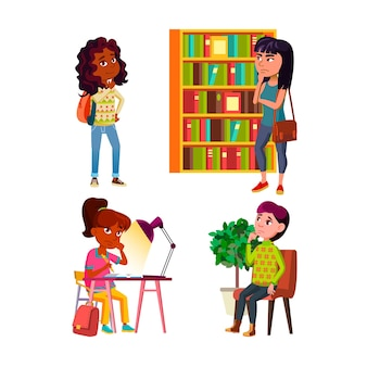 Teenager girls thinking and dreaming set. teen girls think and dream in library and school, in hospital and home room.