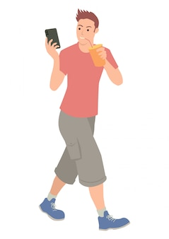 Teenager holding a cellular phone while drinking soft drink