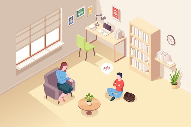 Teenager kid at psychologist counseling psychology therapy and psychotherapy session isometric