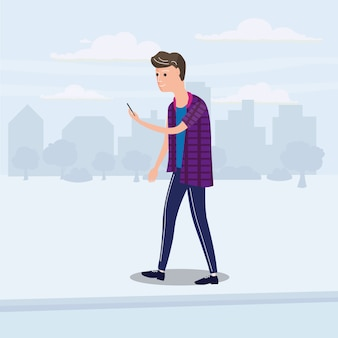 Teenager looking into smartphone and walking