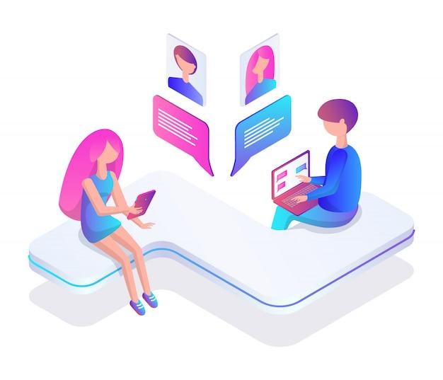 Teenager people chatting illustration