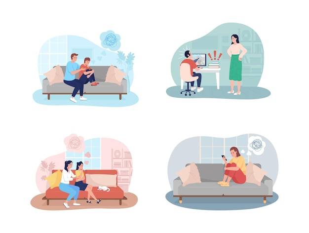 Teenager problems 2d isolated illustration set. parent support to kid.