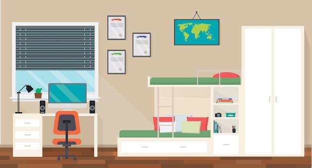 宿題のトレンディなワークスペースでティーンエイジャールームのインテリアデザイン Premiumベクター