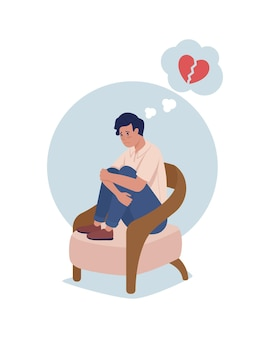 Teenager sad over heartbreak 2d vector isolated illustration. kid upset. girl with negative thoughts on relationships flat characters on cartoon background. teenager problem colourful scene