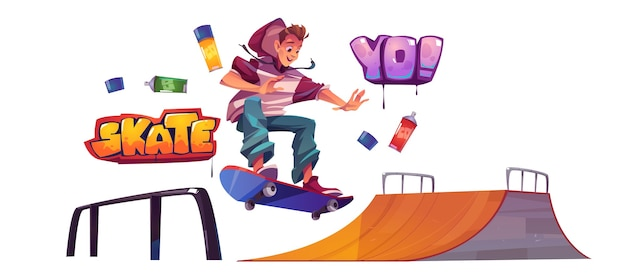Teenager in skate park or rollerdrome perform skateboard jumping stunt on quarter pipe ramp. extreme sport, graffiti, youth urban culture and teen activity on street, cartoon vector illustration, set illustration