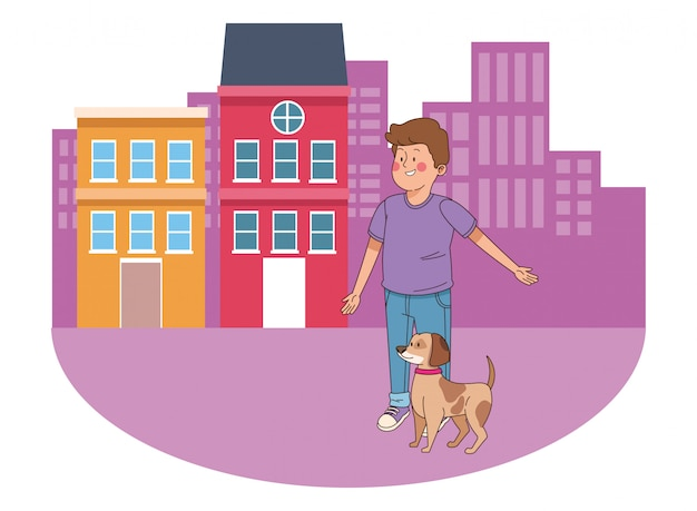 Teenager smiling and walking the dog cartoon