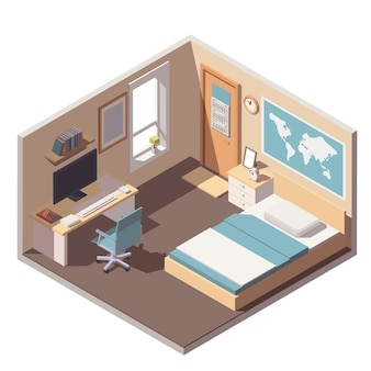 Teenager or student room interior icon with bed, desk, computer and bookshelf