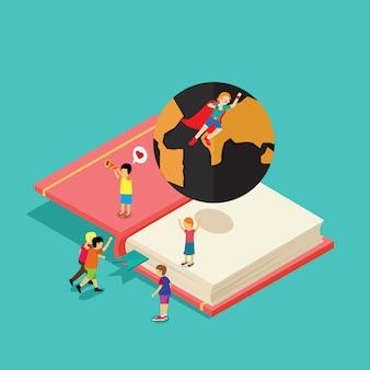 Teenager students learning encyclopedia
