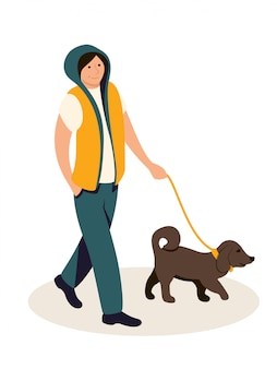 Teenager walking with dog illustration